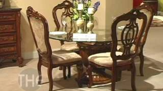 Elegant Dining Set With Pedestal Glass Top Table, 'repertoire' Collection By Fairmont Designs