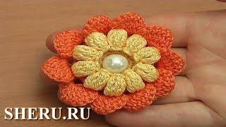 Вязание крючком цветка с попкорнами Урок 115 Crochet Popcorn Stitch Flower