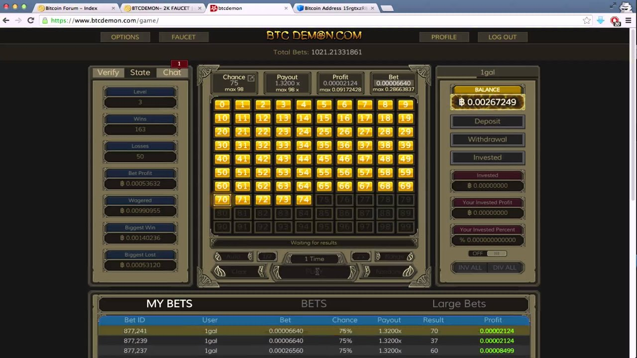 BTCDEMON.com - Pick Your Own Dice Numbers Bitcoin gambling WIN (no ...