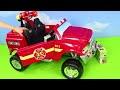 Pelleteuse, tractopelle, Camion de pompier, voiture de police, trains jouets Excavator Toys