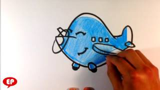 How to Draw a Plane  (cute) - Easy Pictures to Draw