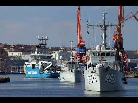 Standing NATO Mine Counter-Measures Group ONE Goteborg, Sweden arrival b-roll