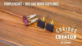 #41 Wood Cufflinks with Purpleheart + Bog Oak - DIY