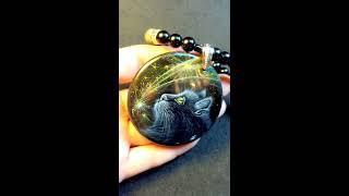 Загадай желание, кулон с росписью и чёрным котом