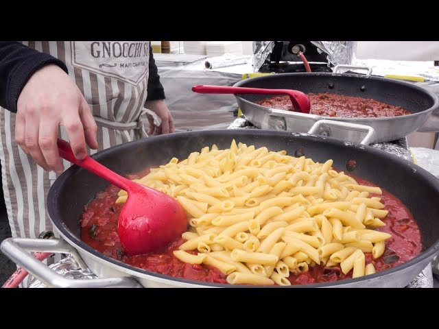 Italian Pasta Cooked On The Road in Huge Pans. London Street Food