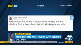 Professional athletes, celebrities and world leaders are mourning the death of nba legend kobe bryant, who was killed in a helicopter crash sunday calabas...
