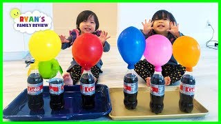 Emma and Kate Learn Colors with Coca Cola & Mentos Science Experiments for children!
