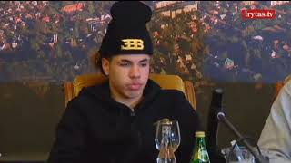 Ball brothers' 1st press conference in Lithuania. girl hits on Liangelo, asks if he has girlfriend!
