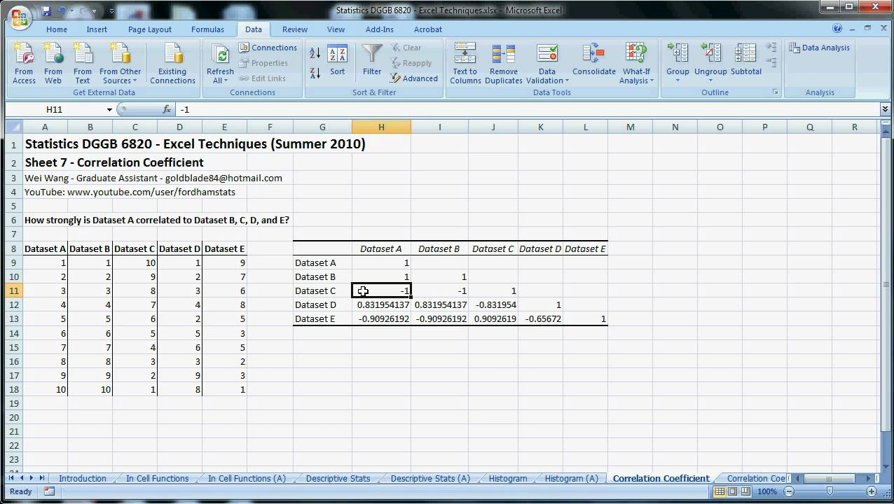 nonlinear relationship and correlation coefficient excel