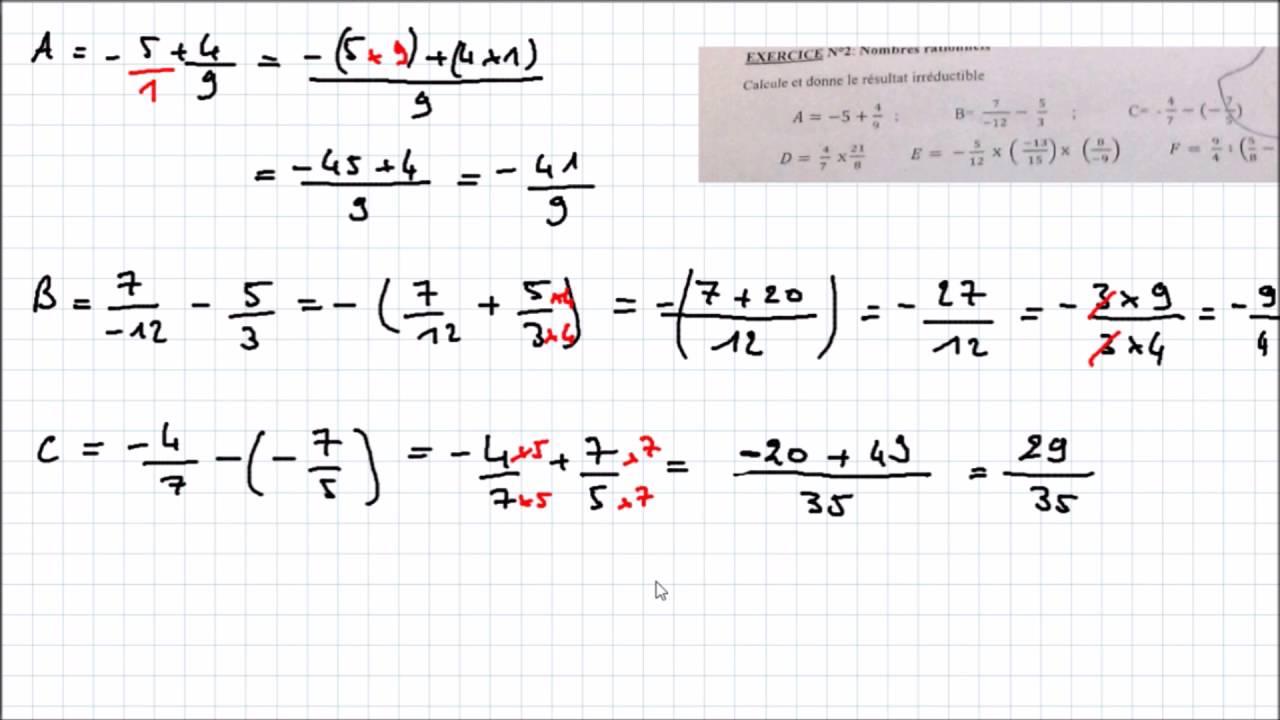 Monplanmaths Correction D Exercice 4eme Fraction Irreductible Youtube