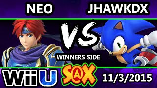 S@X 122 - Neo (Roy) Vs. JHawkdx (Sonic) SSB4 Tournament - Smash Wii U - Smash 4