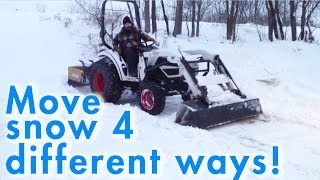 Plowing deep snow with Bobcat tractor! [detailed how to]