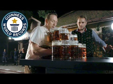 Most Beer Steins Carried Over 40m – Guinness World Records