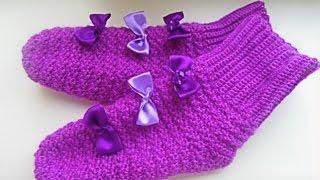 👟Вязаные носочки крючком .Носки крючком женские. Носки крючком красивым узором.