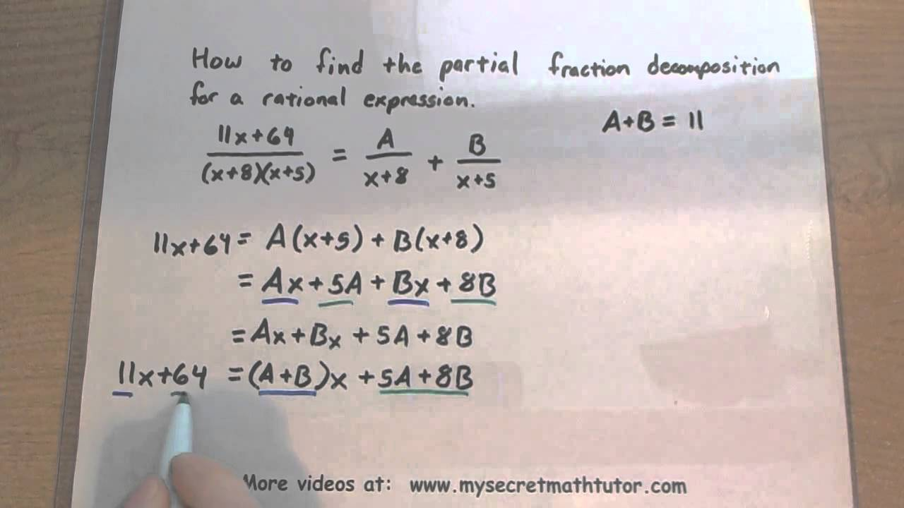 pre-calculus - partial fraction decomposition
