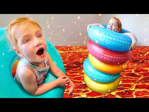 ADLEY vs DAD!! Ultimate Obstacle Course and Challenge Park! (dont touch the hot lava)