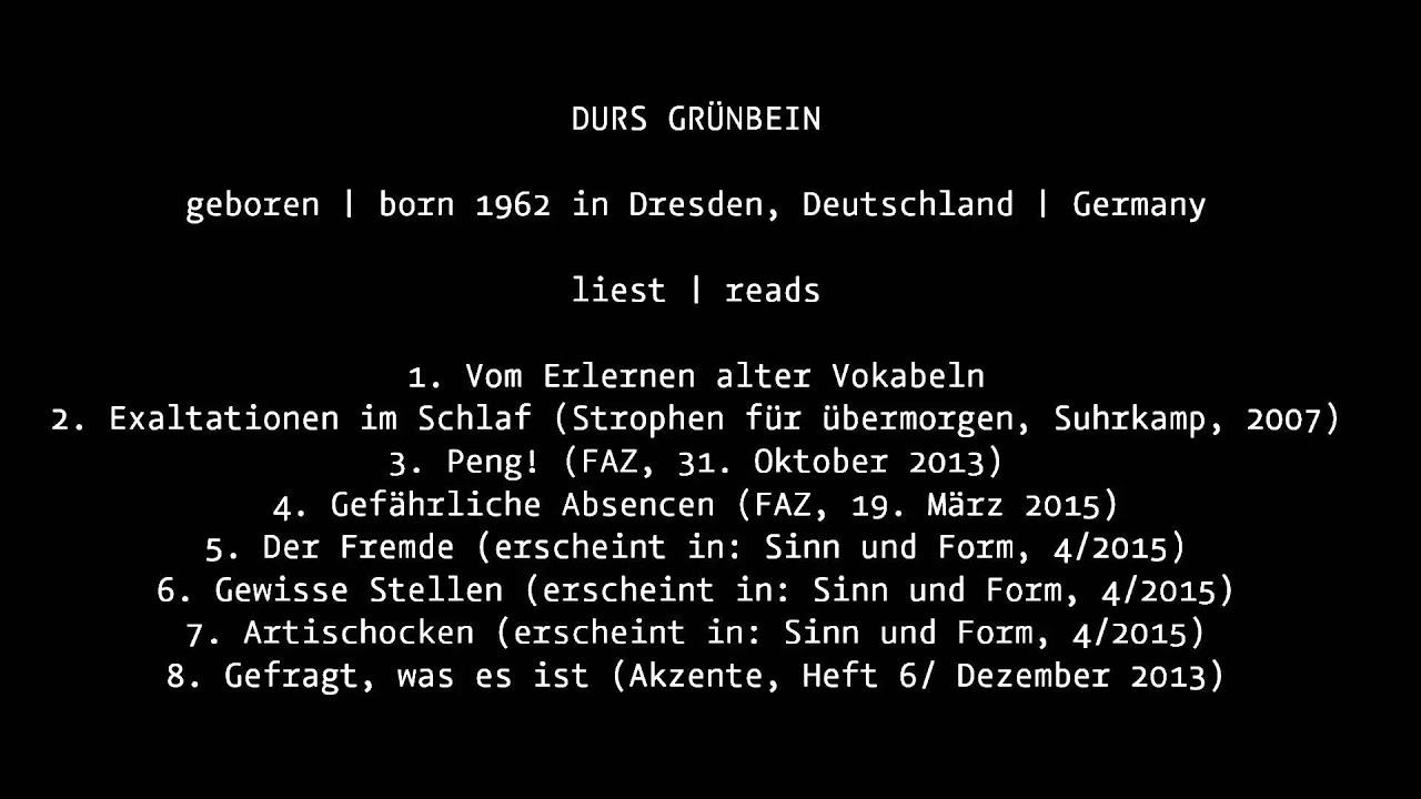 Durs Grünbein Liest Gedichte Einführung Auf Englisch