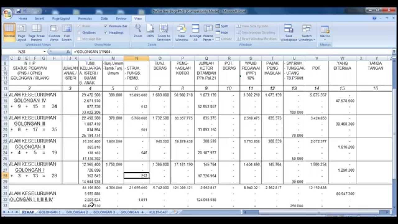 Cara Menghitung Gaji PNS Menggunakan Excel - YouTube