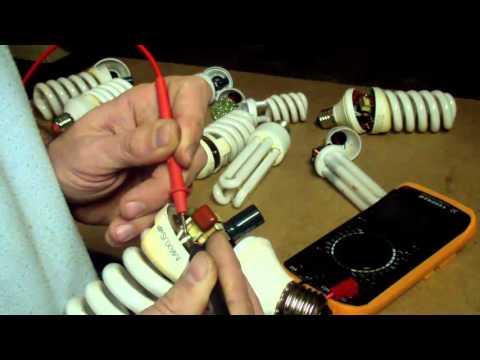 Ремонт энергосберегающей лампы (обрыв спирали)