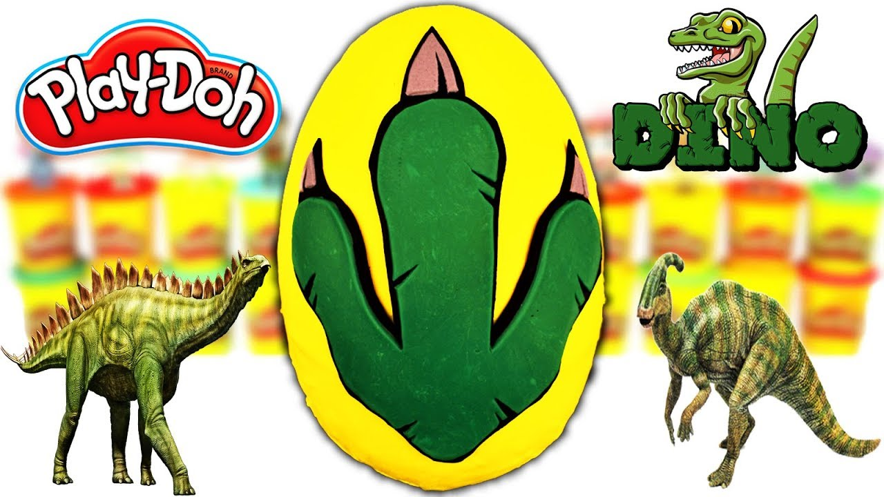 Huevo Sorpresa Gigante de Huella de Dinosaurio Jurassic World de Plastilina Play doh en Español