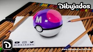 Como dibujar una Master Ball en 3D - Pokémon GO - Dibujados