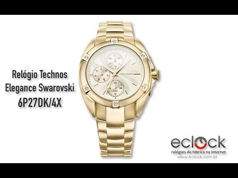 24e1a4bab675c Relógio Technos Feminino Elegance Swarovski 6P27DK 4X - Eclock
