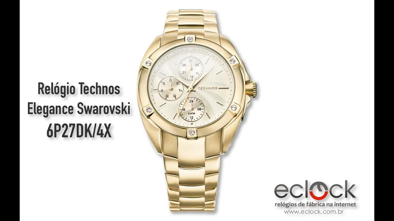 9ed0df0a09afb Relógio Technos Feminino Elegance Swarovski 6P27DK 4X - Eclock - YouTube