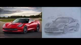 auto drawing - Corvette C7 Stingray