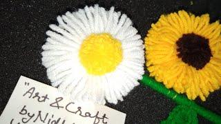 बेंगल से फ्लावर बनाने का आसान तरीका/ Woolen Flower Using Bangle Easy