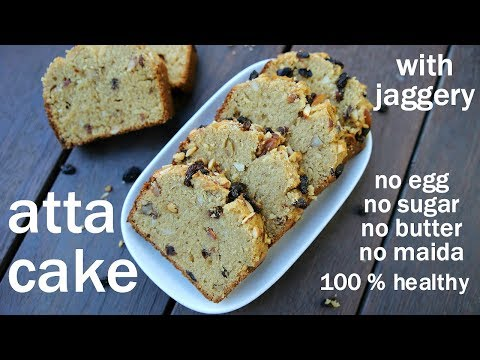 atta cake recipe - without sugar - with jaggery | एगलेस आटा केक​ रेसिपी | eggless wheat cake recipe