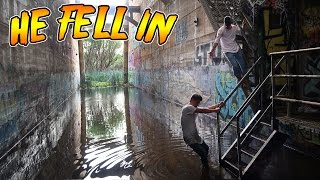 sneaking into an abandoned water dam he fell off omg