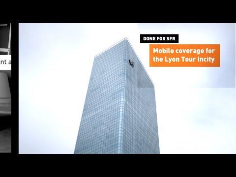 Tour Incity in Lyon France : achievement of the mobile telecom coverage