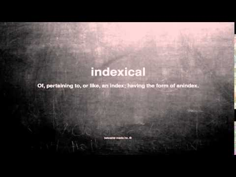 What does indexical mean
