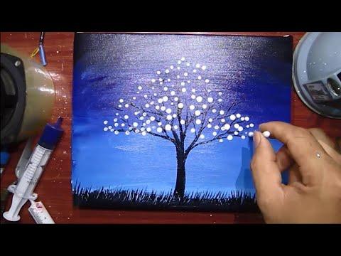 Vẽ tranh cây bông trắng đơn giản với màu acrylic