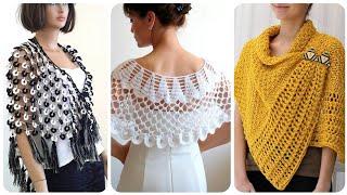 Latest And Stylish Handmade Crochet Caplets Poncho And Cap Shawl Styles