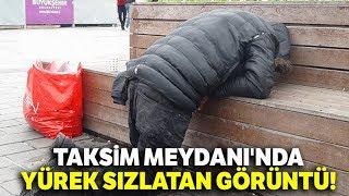 Taksim'de Soğukta Üşüyen Evsiz Vatandaşa Zabıtadan Yardım Eli