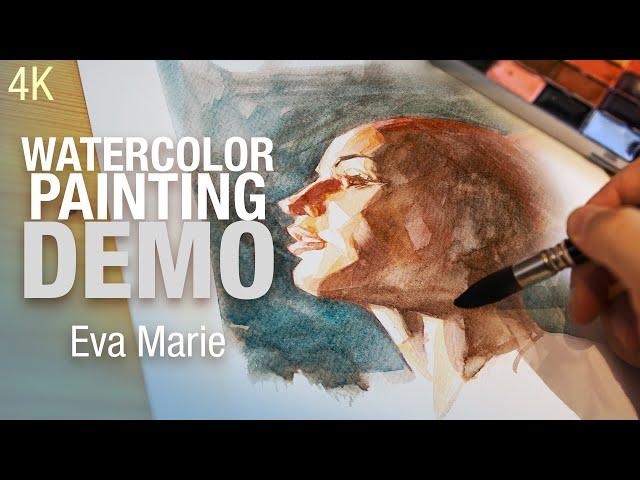 How to paint Eva Marie's portrait in watercolor 4K