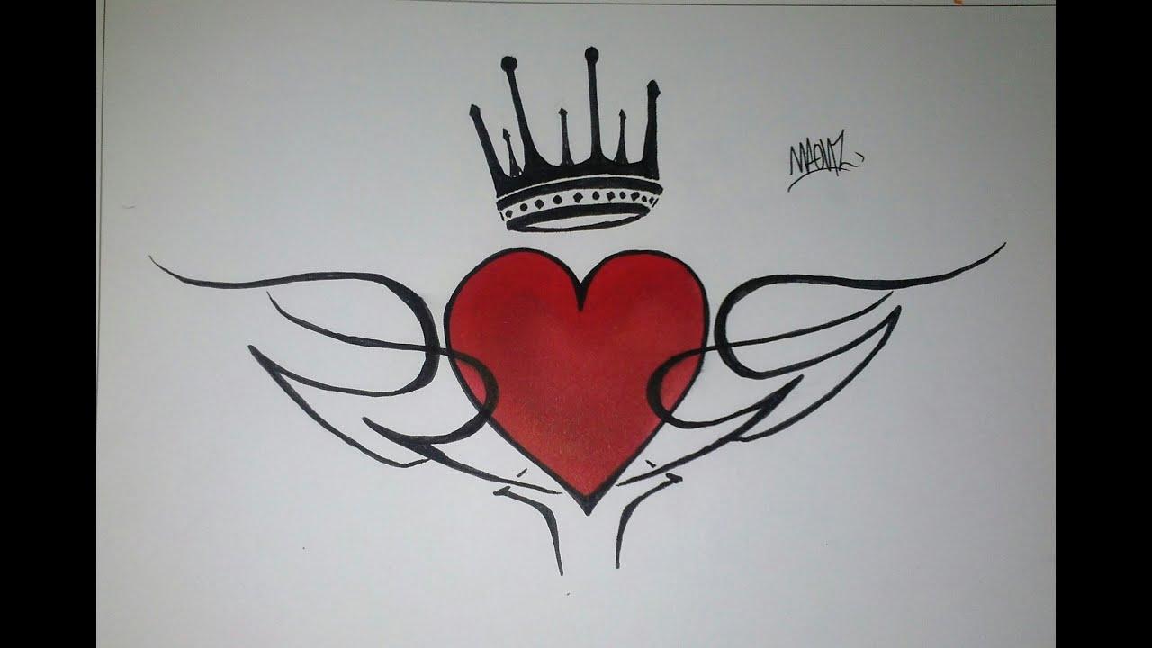 Como Dibujar Un Corazón En 3d Con Lineas: Como Dibujar Un Corazón Con Tribal Y Corona