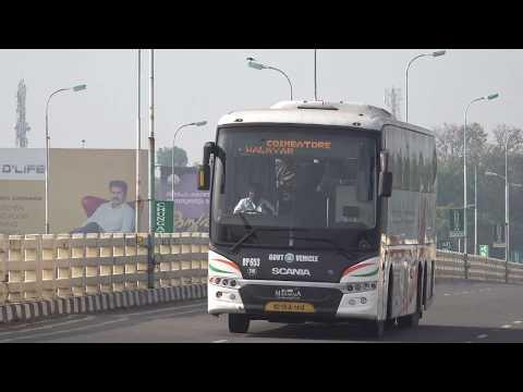 13.7M Long K.S.R.T.C Garuda Maharaja Scania Bus Cruising Swiftly Past Cochin !!!