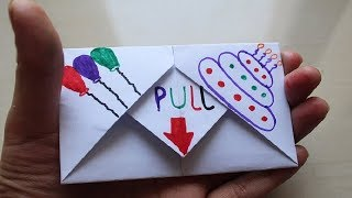 Diy   Pull Tab Origami Envelope Card || Letter Folding Origami || Birthday Card | Greeting Card |
