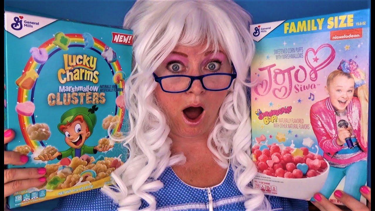 JoJo Siwa Lucky Charms Captain Crunch Cereals Granny McDonalds Taste Test