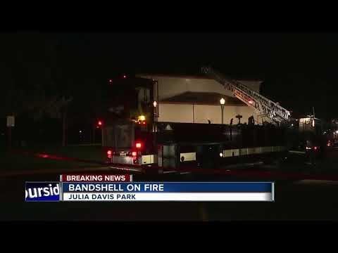 Fire at Bandshell in Julia Davis Park