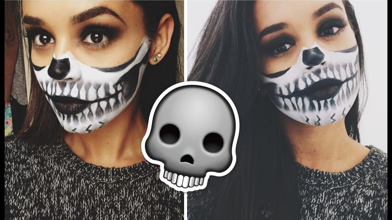 halloween makeup tutorial half skull face youtube - Skull Faces Halloween