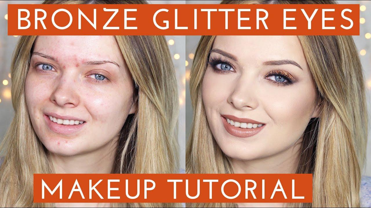 Acne Coverage  Bronze Glitter Smokey Eye Makeup Tutorial  MyPaleSkin