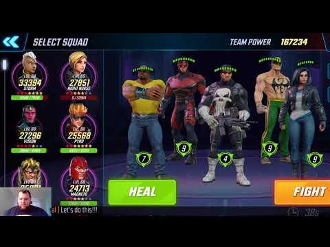 Marvel Strike Force Ultimus VI Raid, lane 4 with primary Defenders squad