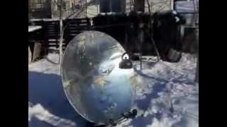 Solar parabolic mirror in winter, Lithuania