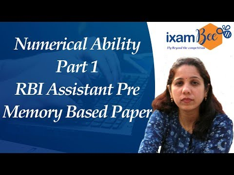 Numerical Ability-Part 1 RBI Assistant Pre Memory Based Paper