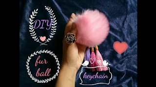 DIY/ how to make fur ball keychain ♡