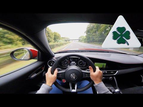Alfa Romeo Giulia Quadrifoglio QV ACCELERATION & TOP SPEED POV on Autobahn Test Drive