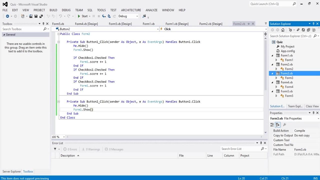 Visual Basic codes - Quiz